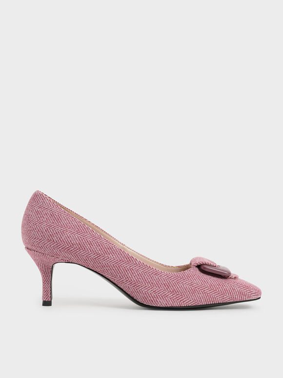 Woven Buckled Pumps, Red, hi-res