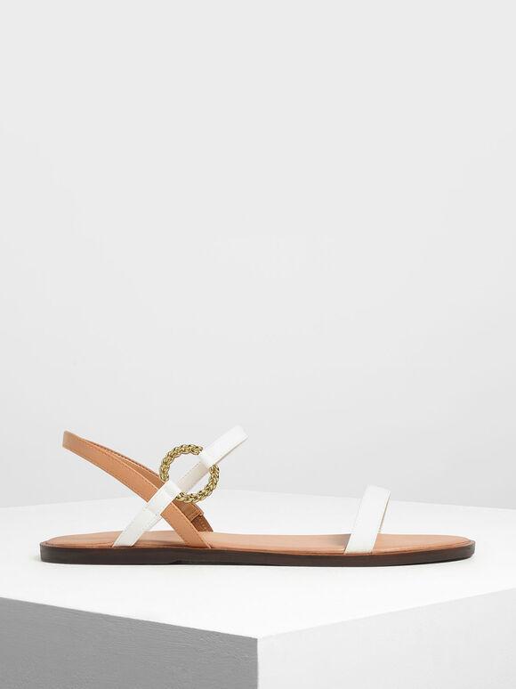 Gold Buckle Detail Sandals, White, hi-res