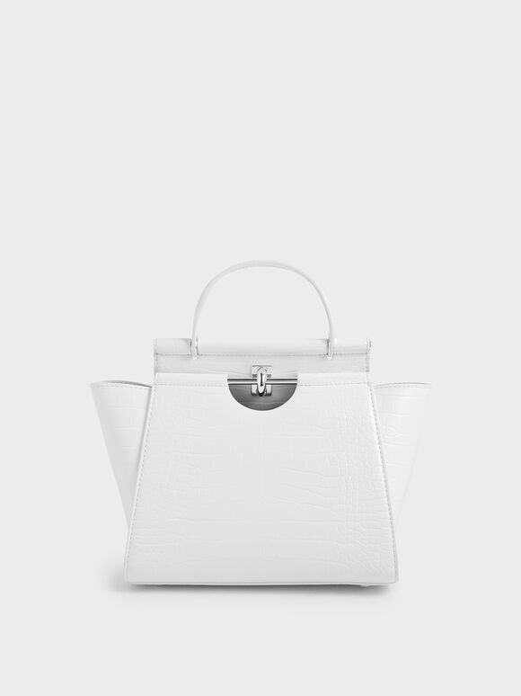 Croc-Effect Trapeze Bag, White, hi-res