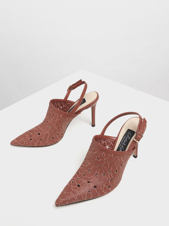 Floral Embroidery Slingback Heels, Brick