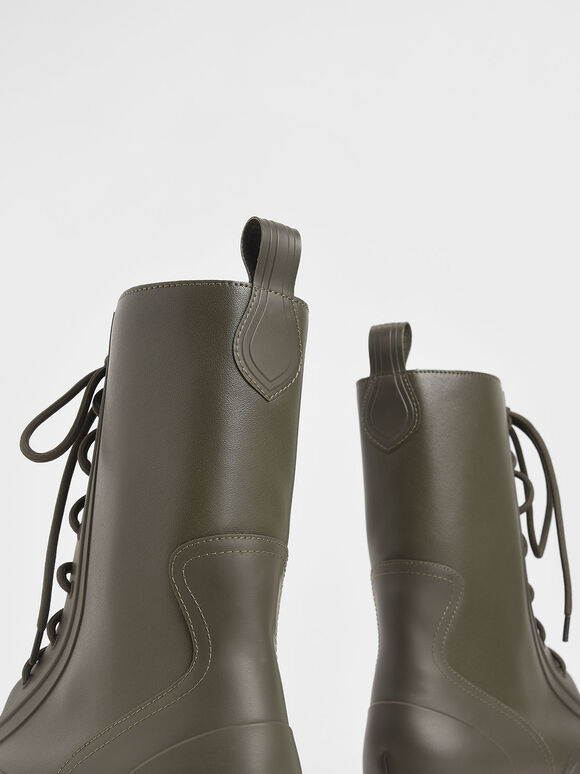 Lace-Up Calf Boots, Military Green, hi-res
