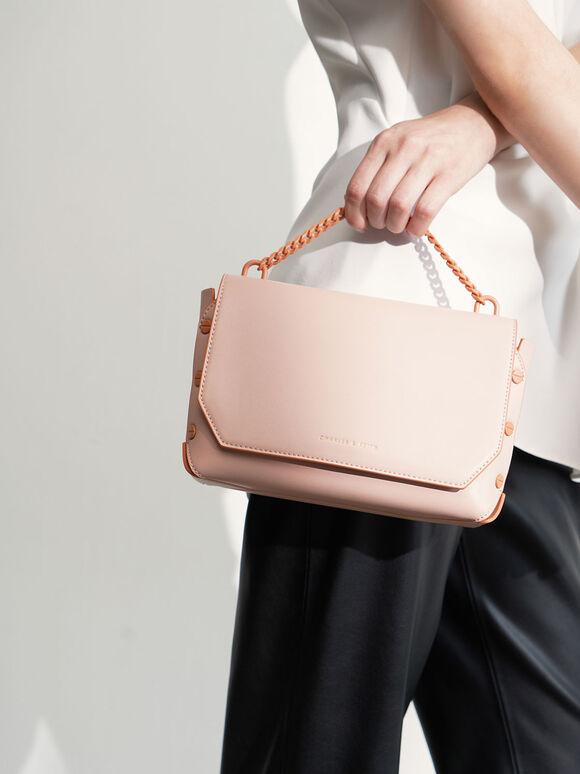 Studded Chain Link Shoulder Bag, Pink, hi-res