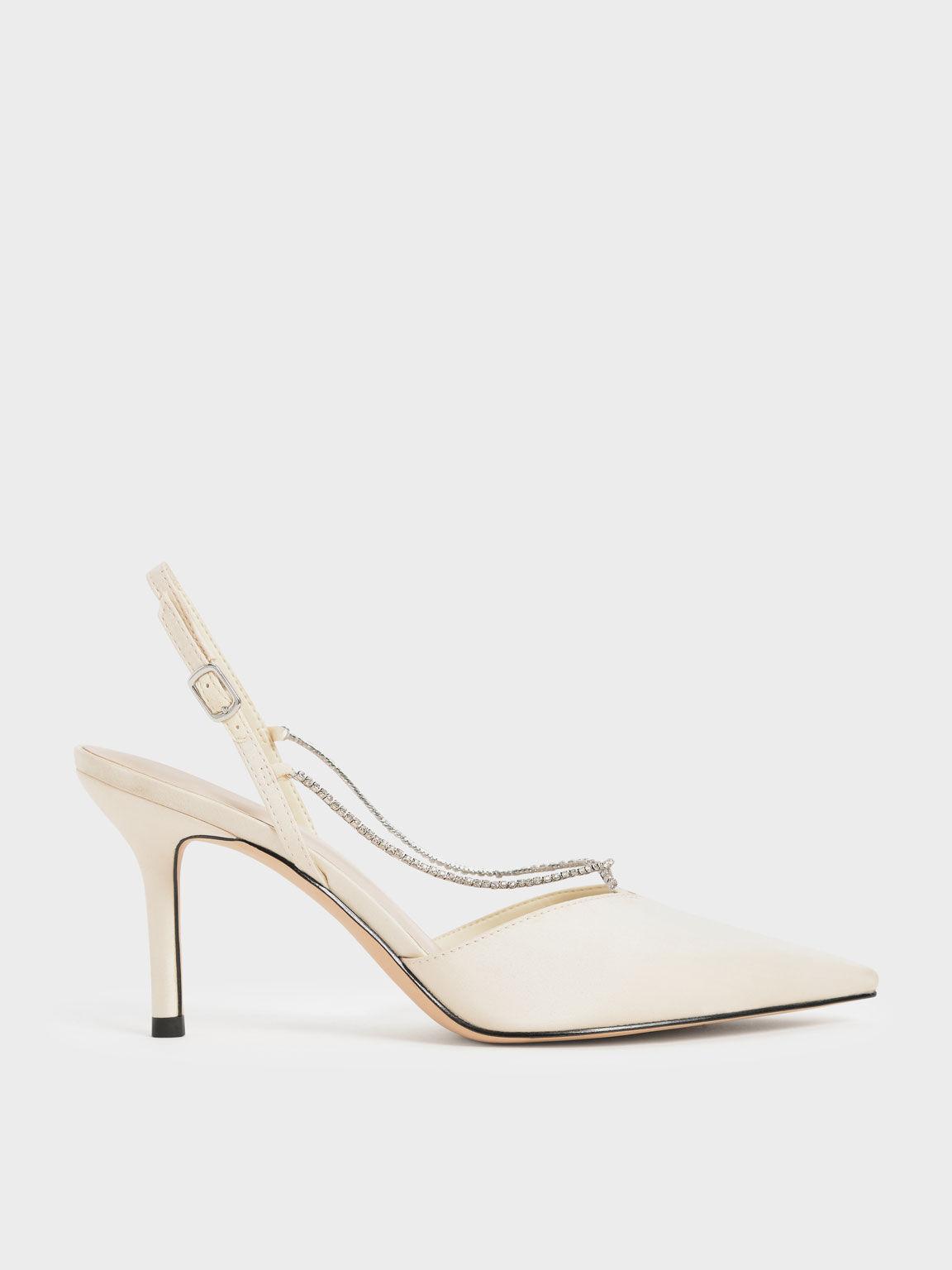 寶石鍊尖頭跟鞋, 石灰白, hi-res