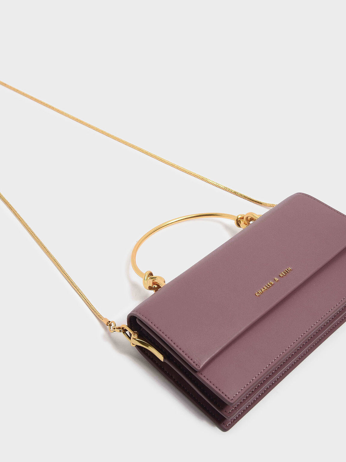 Metallic Handle Long Wallet, Mauve, hi-res
