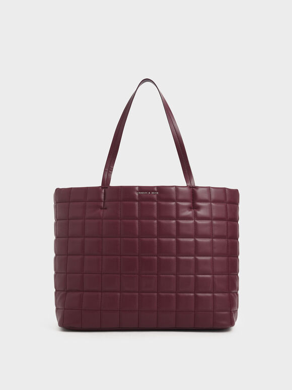 Quilted Large Tote Bag, Burgundy, hi-res
