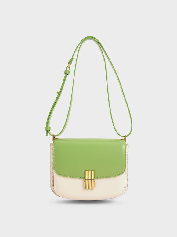 Metallic Push-Lock Shoulder Bag, Green, hi-res