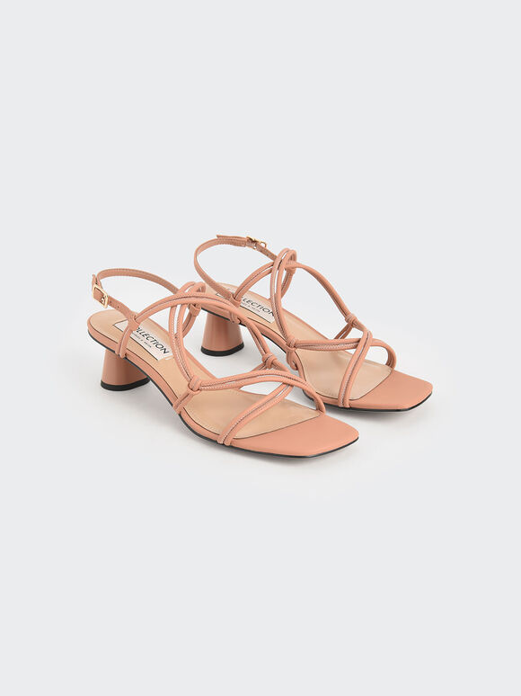 方頭交叉帶涼鞋, 黃褐色, hi-res