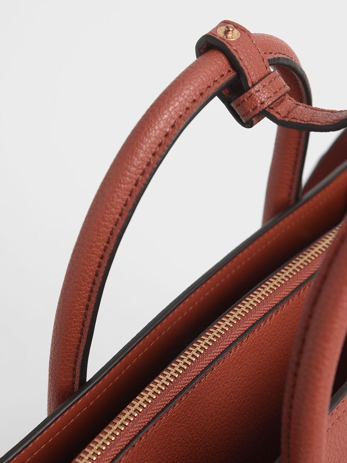 Large Structured Tote Bag, Cognac, hi-res