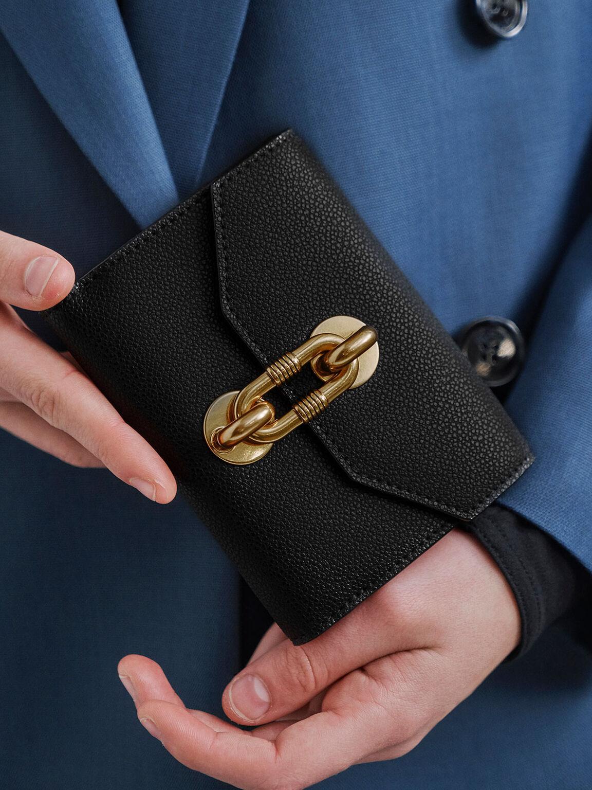 Chain Link Turn-Lock Mini Wallet, Black, hi-res