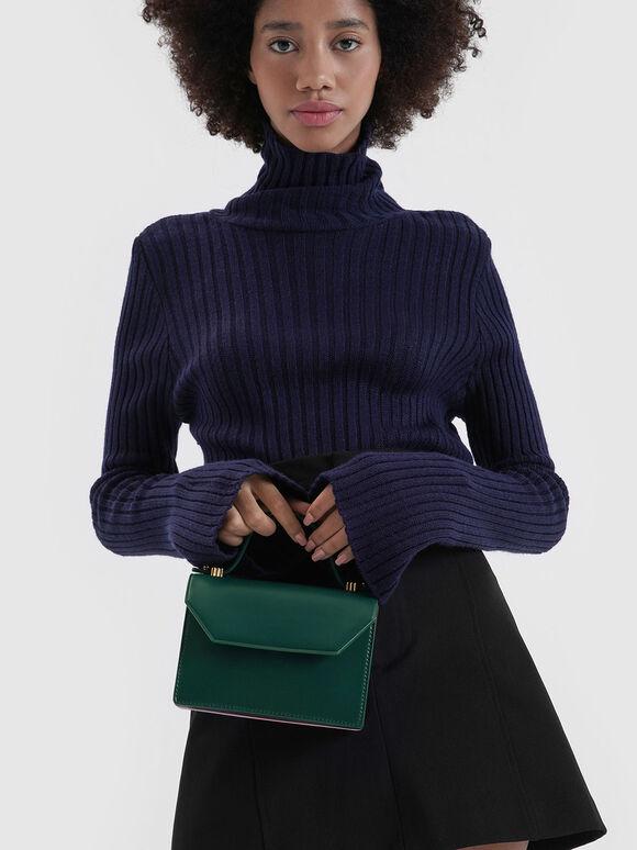 Mini Top Handle Clutch, Dark Green, hi-res