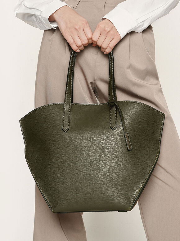 Large Geometric Tote Bag, Olive, hi-res