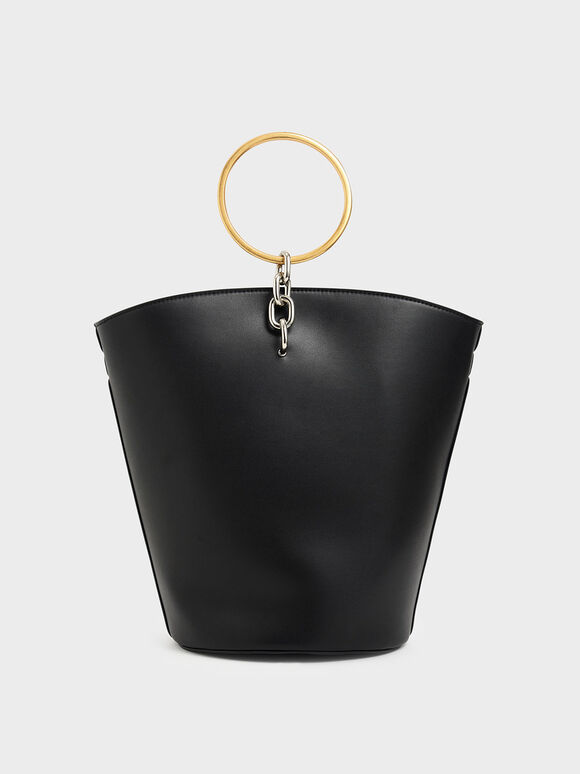 Large Bracelet Bucket Bag, Black, hi-res