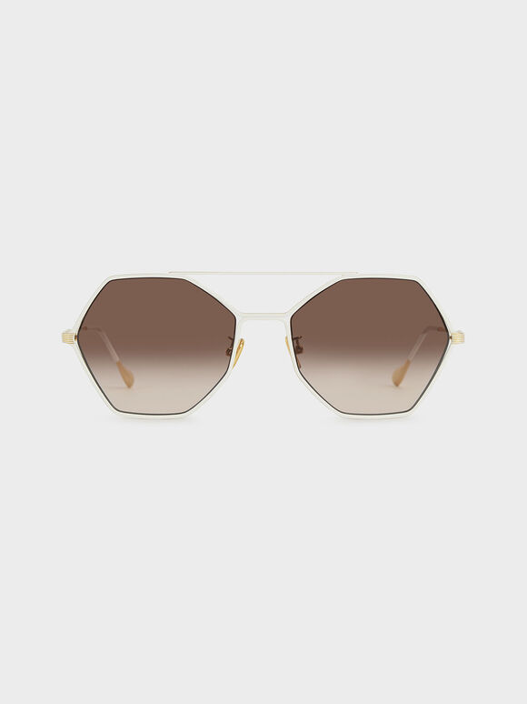 Gradient Tint Geometric Sunglasses, Cream, hi-res
