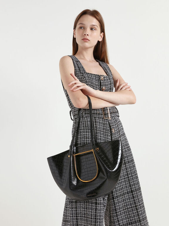Croc-Effect Petal Fold Tote Bag, Black
