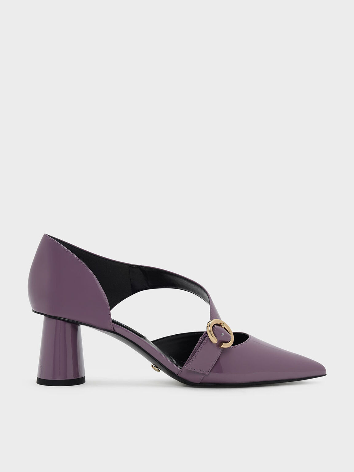 Asymmetrical Strap Leather Pumps, Mauve, hi-res