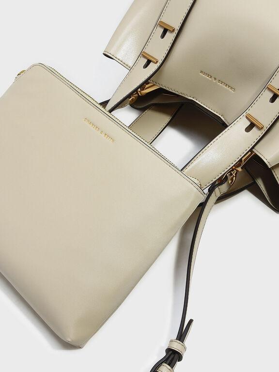 Embellished Slouchy Handbag, Ivory