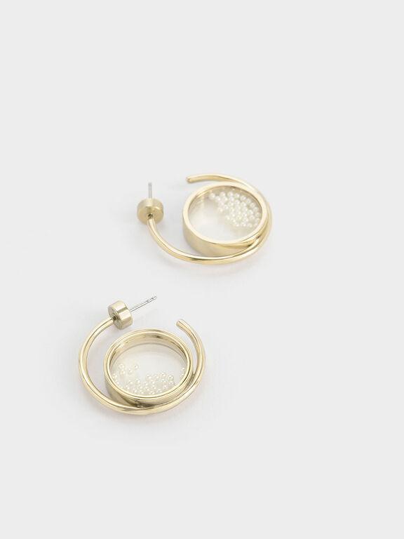 Pearl Finish Stone Floating Locket Hoop Earrings, Pearl