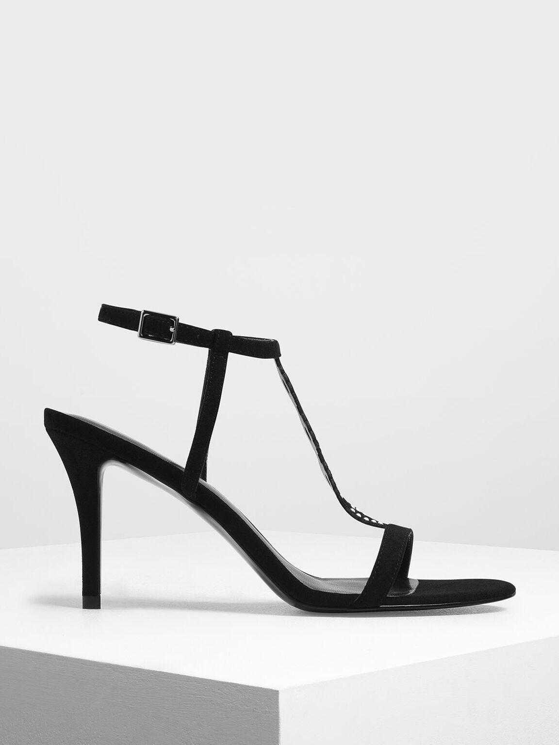 Cut-Out Embellished Stiletto Heels, Black, hi-res