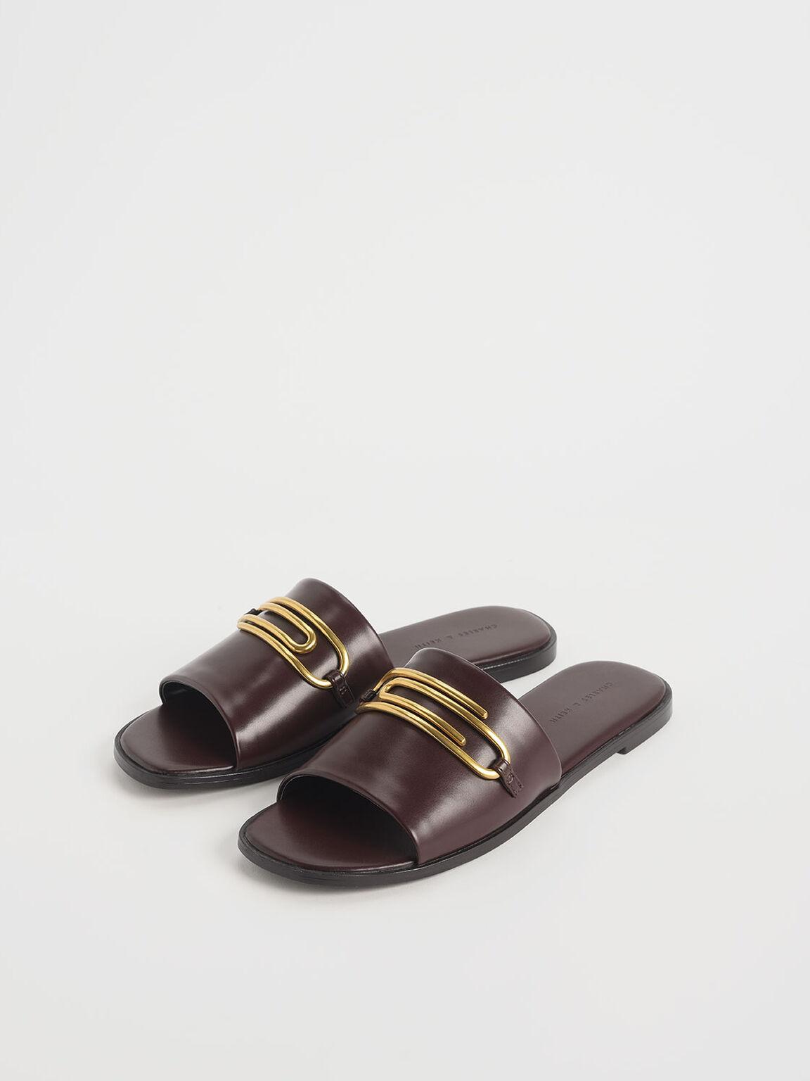 簡約金屬平底拖鞋, 咖啡色, hi-res