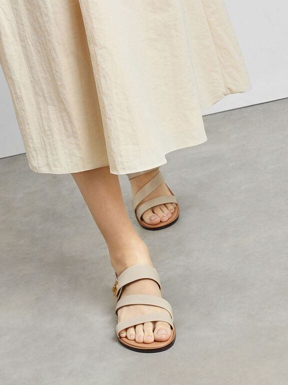 Asymmetrical Strappy Sandals, Chalk