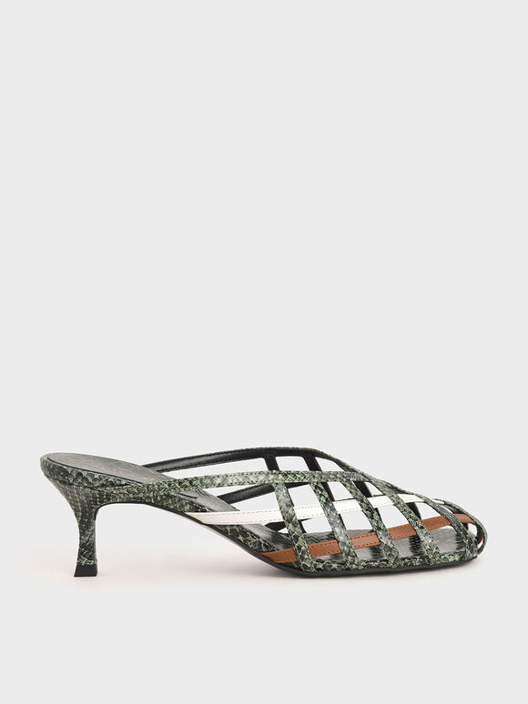 菱格編織穆勒鞋, 混色, hi-res