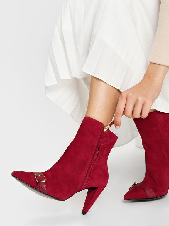 Leather Strap Detail Suede Boots, Red, hi-res
