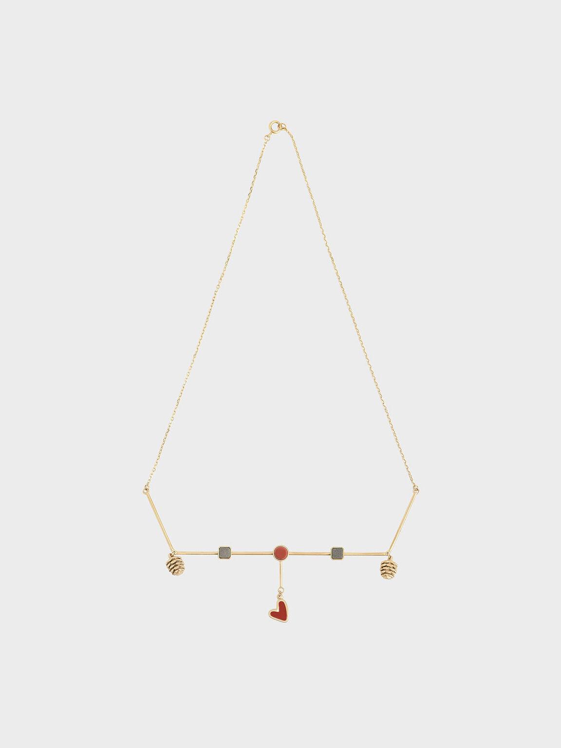 Red Jasper & Pyrite Gemstone Horizontal Necklace, Gold, hi-res
