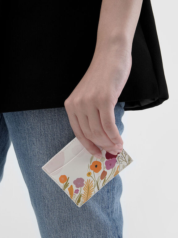 CHARLES & KEITH by Oamul Lu: Floral Illustration Card Holder, White
