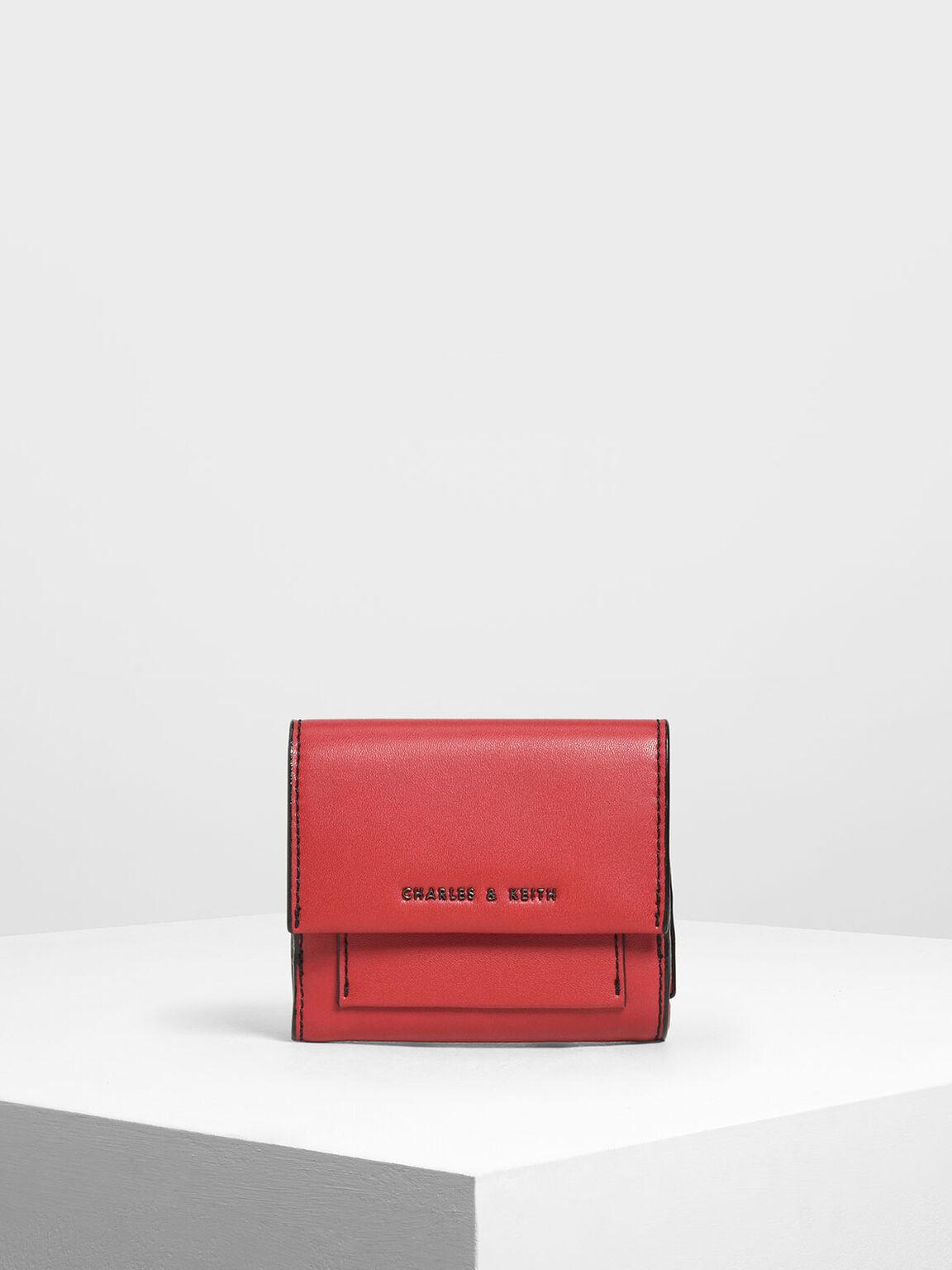 Stitch Detail Front Flap Short Wallet, Red, hi-res