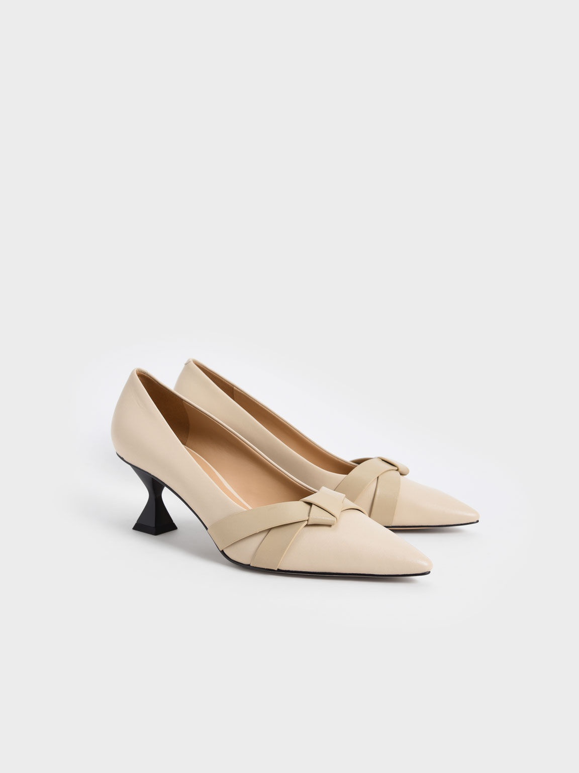 Leather Knotted Bow Sculptural Heel Pumps, Chalk, hi-res