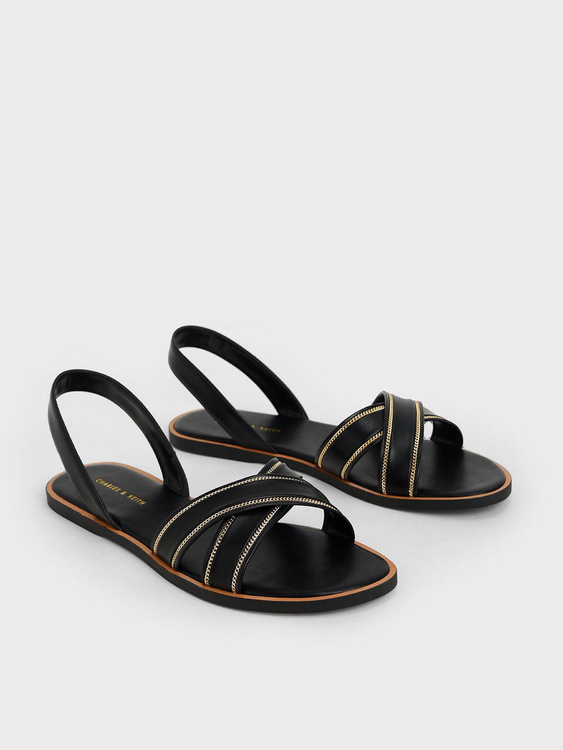 Embellished Slingback Sandals, Black, hi-res