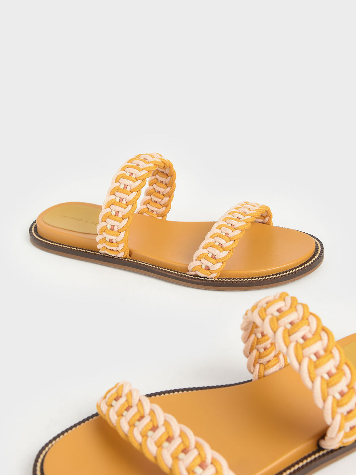 Rope Slide Sandals, Mustard, hi-res