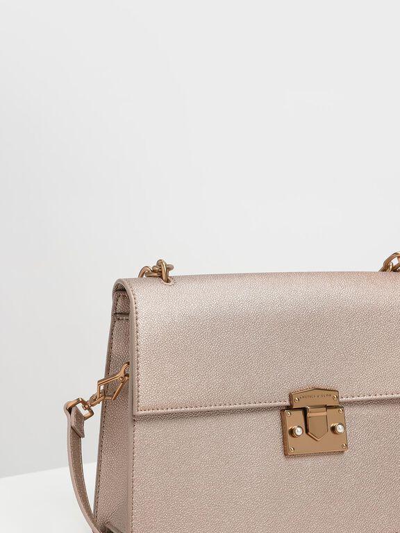 Chain Handle Shoulder Bag, Rose Gold