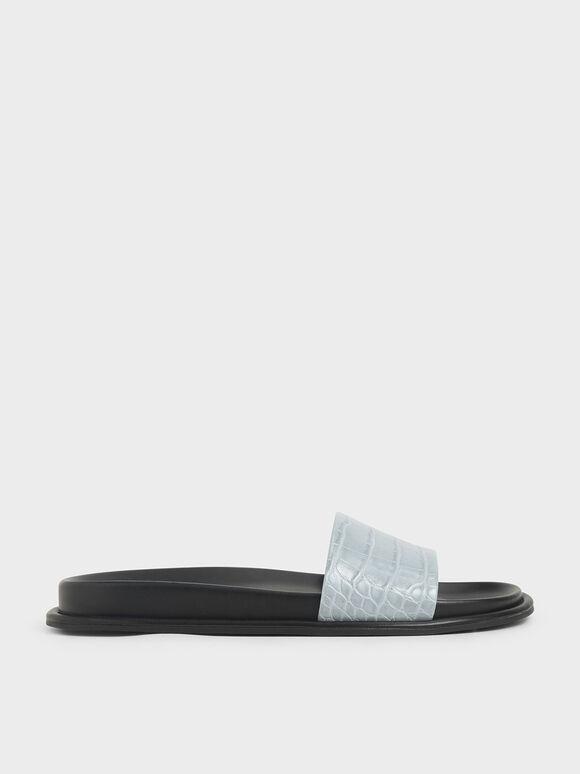 鱷魚紋厚底拖鞋, 藍色, hi-res