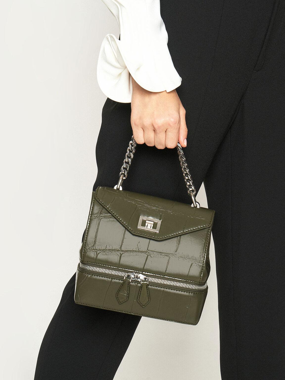 鍊條拉鍊手提包, 橄欖色, hi-res