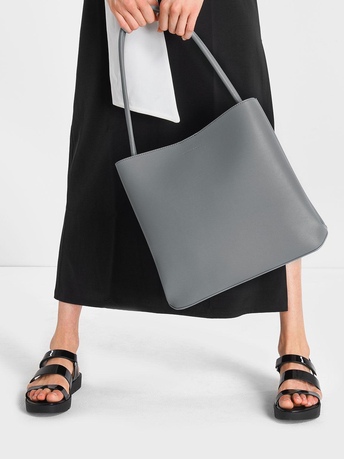 Large Shoulder Bag, Grey, hi-res