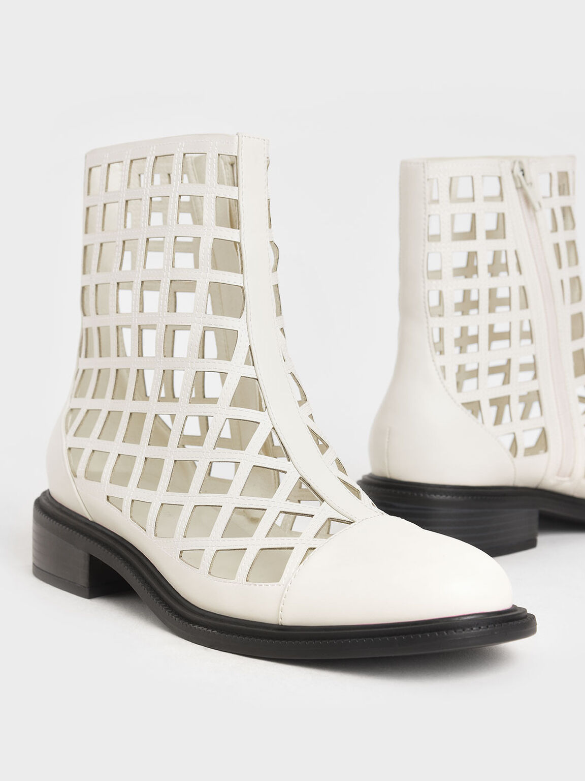 Caged Ankle Boots, Cream, hi-res