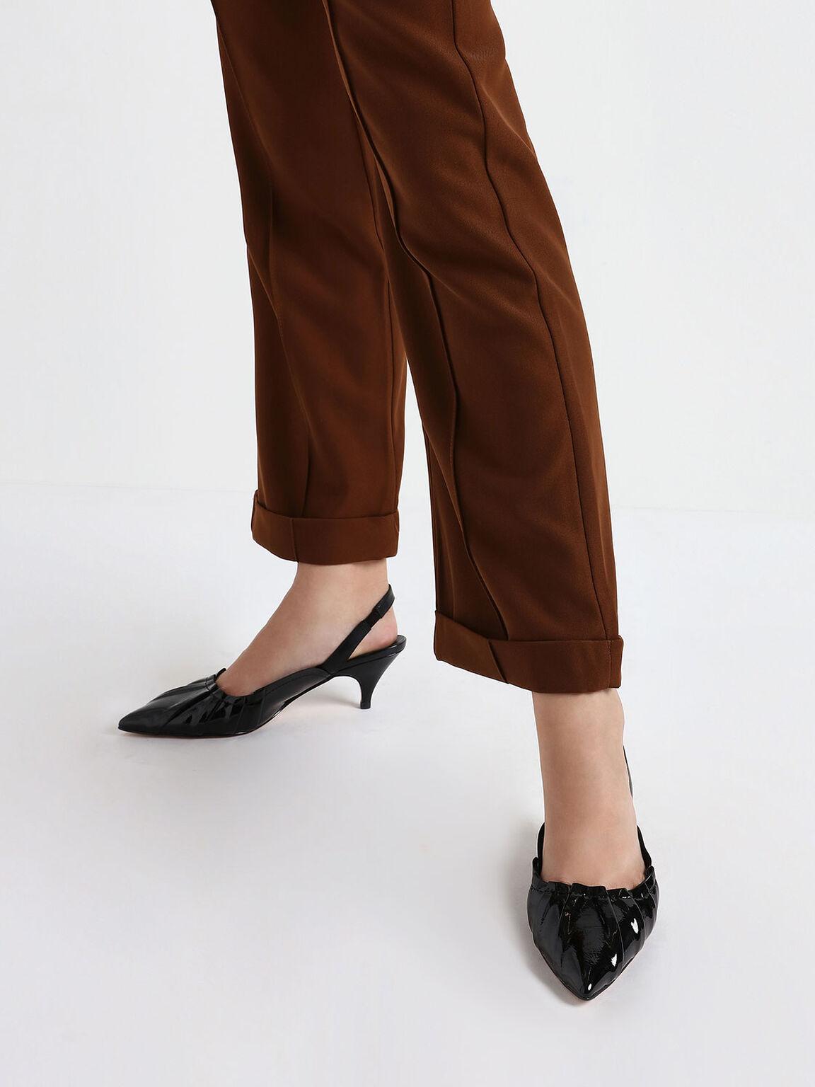 Ruched Wrinkled Patent Slingback Heels, Black, hi-res