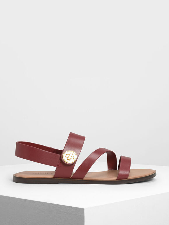 Asymmetrical Strappy Sandals, Red, hi-res