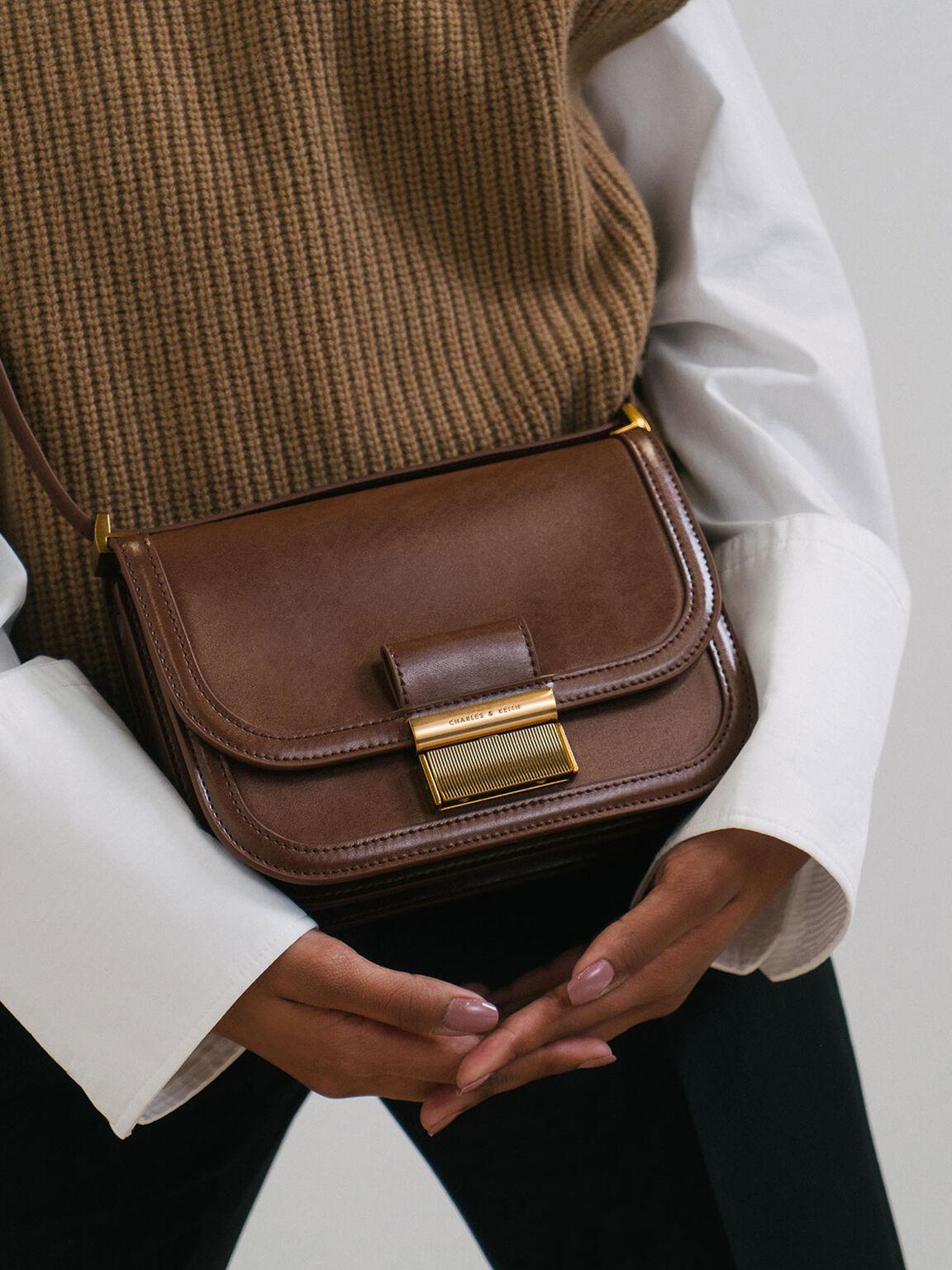 Metallic Push-Lock Crossbody Bag, Dark Brown, hi-res