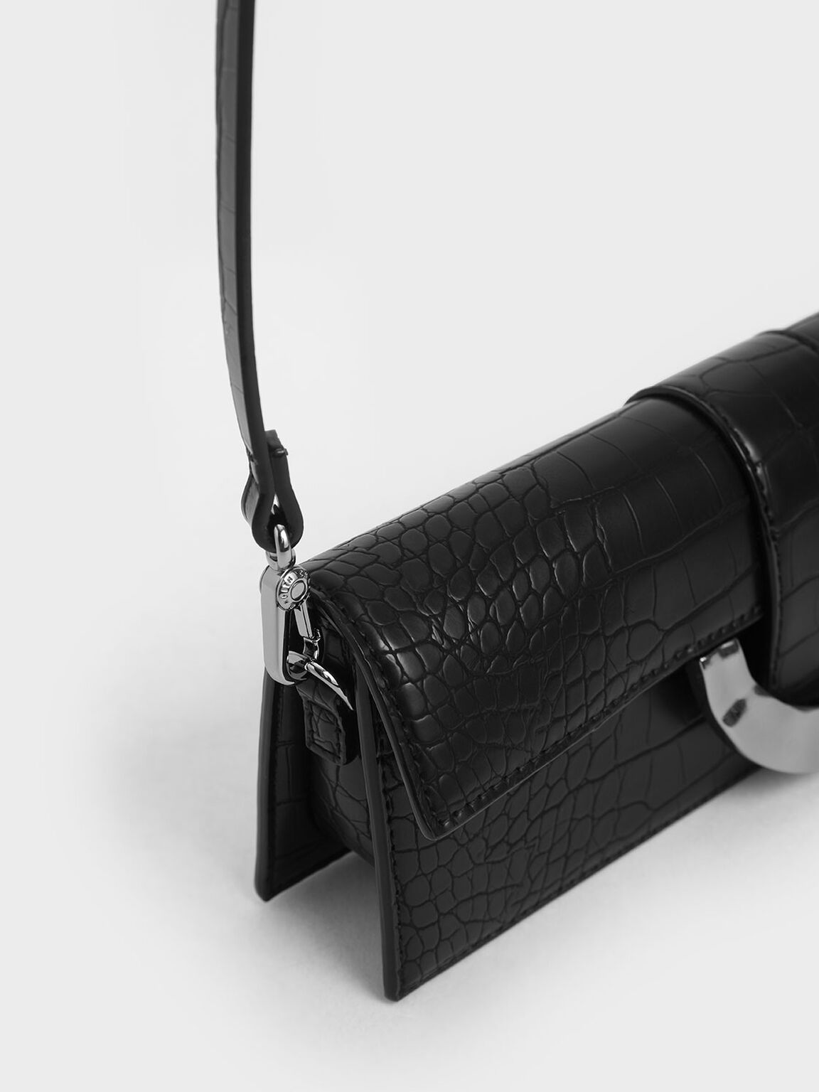 Croc-Effect Long Clutch, Black, hi-res
