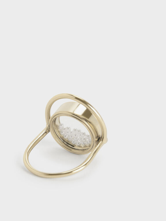 Pearl Finish Stone Floating Locket Ring, Pearl, hi-res