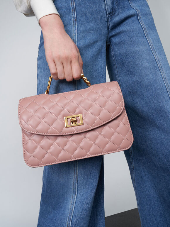 Quilted Clutch, Blush, hi-res