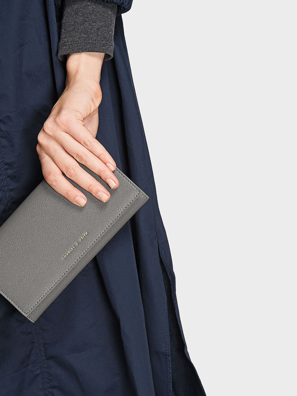 Basic Long Wallet, Grey, hi-res