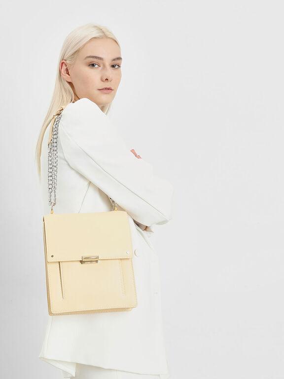Chain Strap Portrait Messenger Bag, Yellow, hi-res