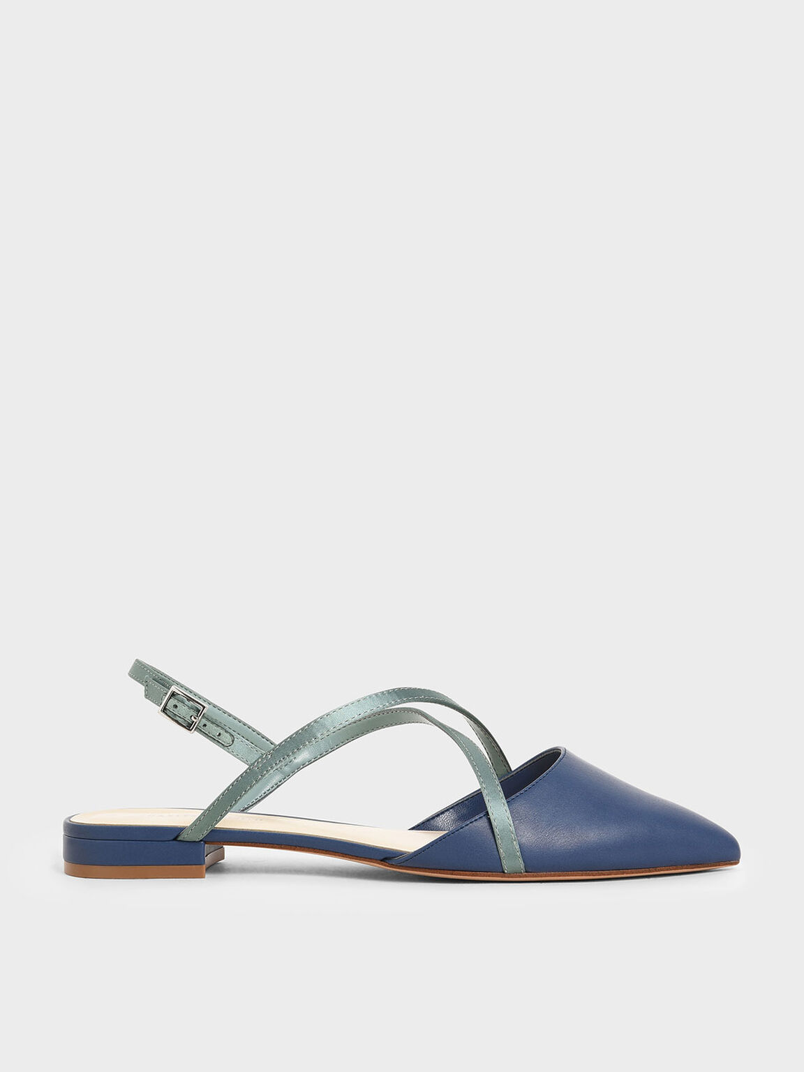 Satin Criss Cross Strap Flats, Blue, hi-res