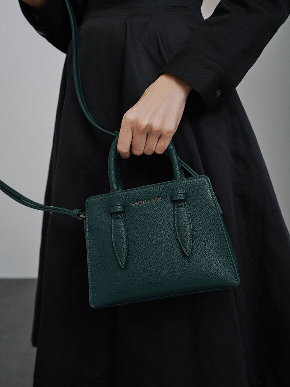 Double Top Handle Structured Bag, Green, hi-res
