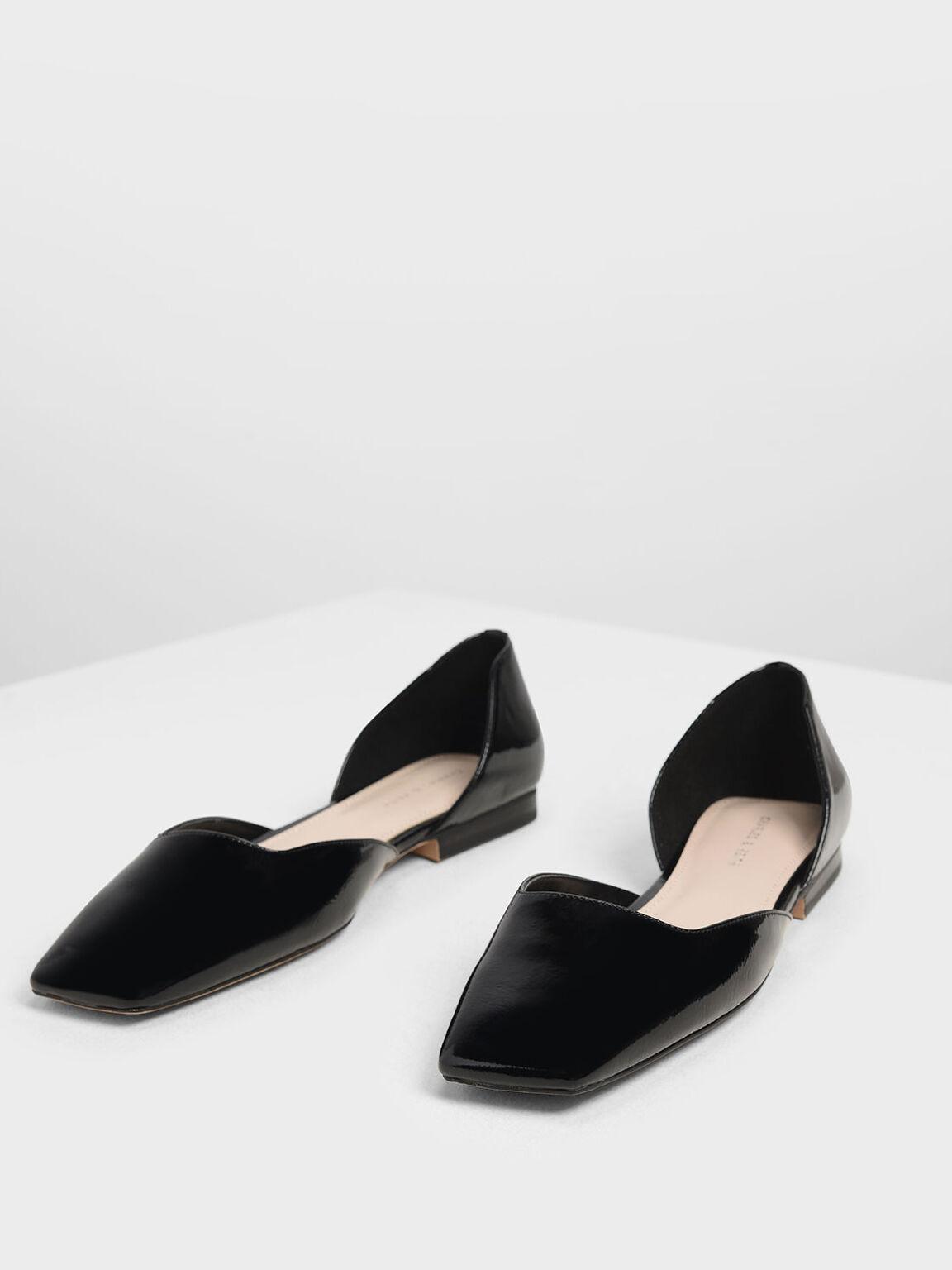 方頭D'Orsay平底鞋, 黑色, hi-res