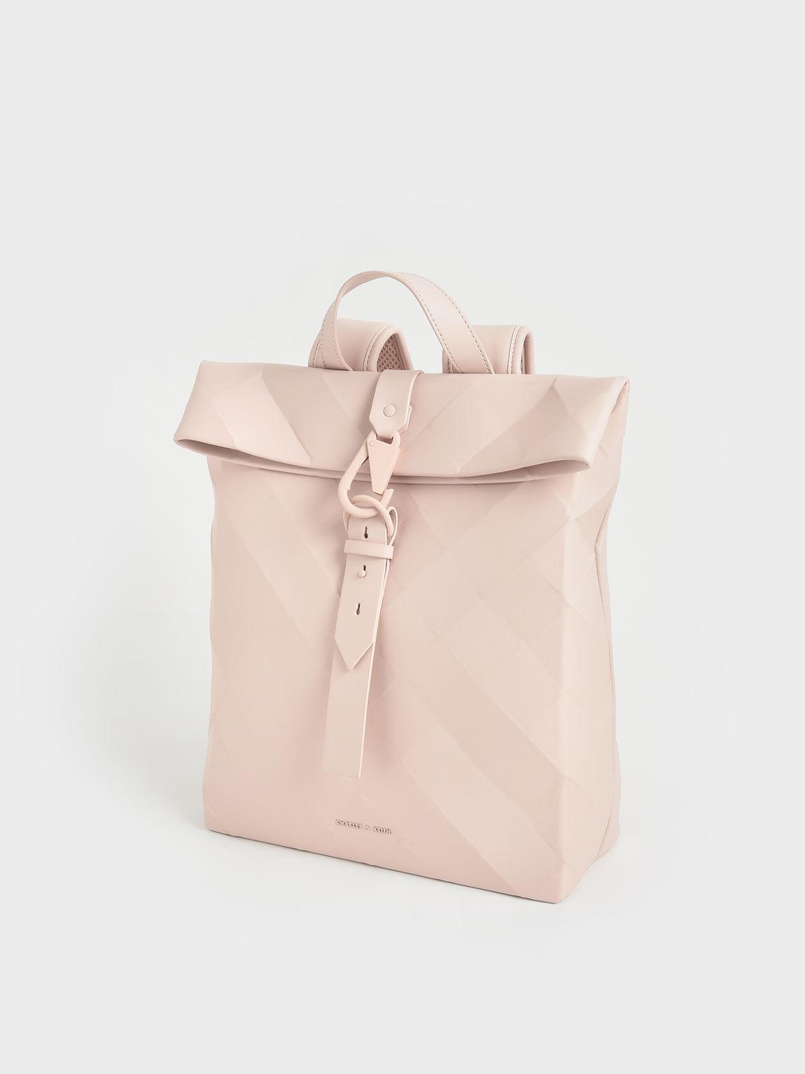Large Geometric Backpack, Light Pink, hi-res
