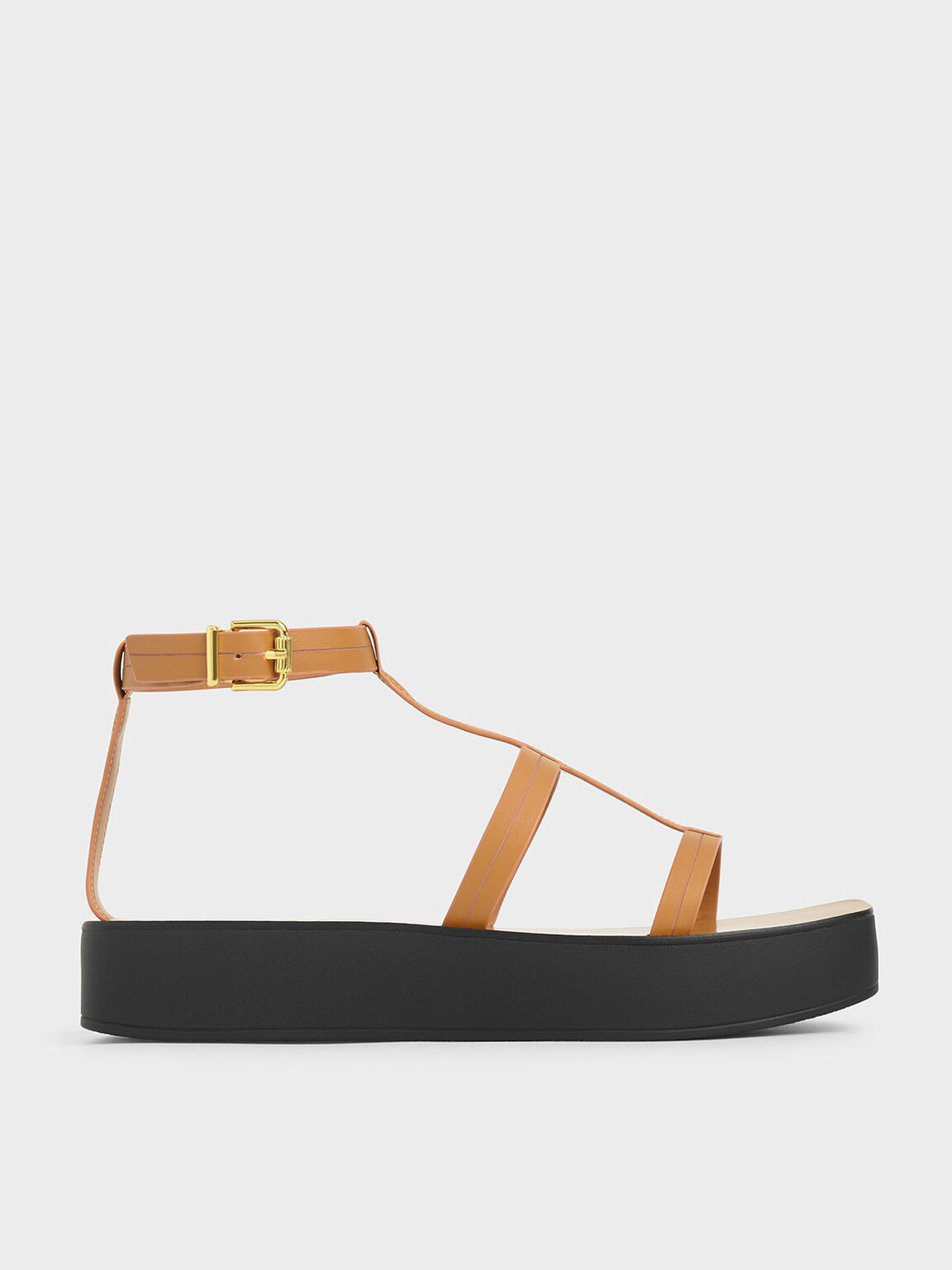 T-Bar Flatform Sandals, Mustard, hi-res